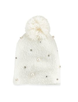 Women's So® Simulated Pearl & Rhinestone Pom Pom Beanie by So