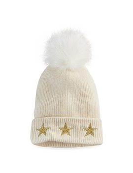 Madden Nyc Women's Embroidered Stars Pom Pom Beanie by Kohl's