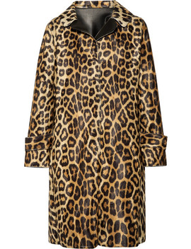 Faux Leather Trimmed Leopard Print Faux Fur Coat by House Of Fluff