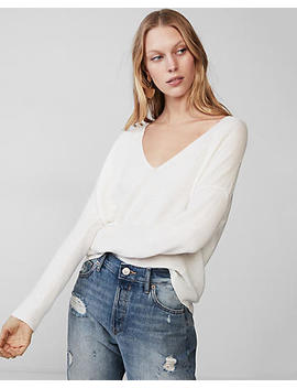 V Neck Hi Lo Ottoman Pullover Sweater by Express