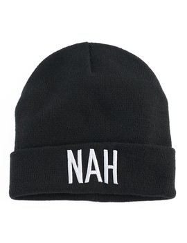 "Women's Mudd® Embroidered ""Nah"" Beanie by Mudd"