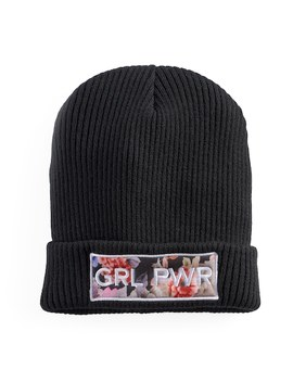 "Women's Mudd® Floral ""Grl Pwr"" Patch Beanie by Mudd"