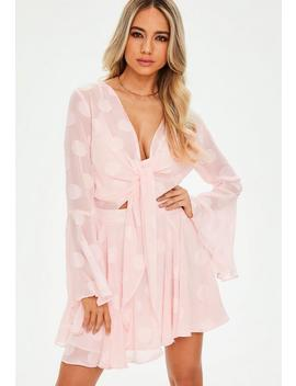 Pink Spot Chiffon Flare Sleeve Tie Skater Dress by Missguided