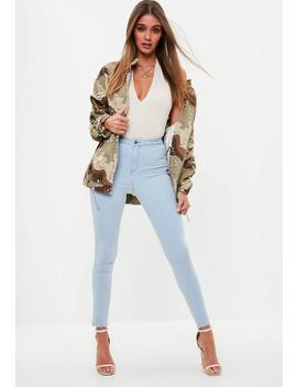 Blue Highwaisted Vice Skinny Jeans by Missguided