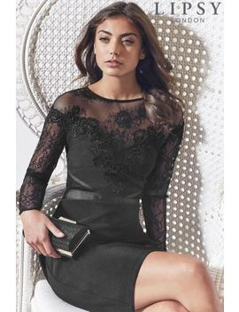 Lipsy Lace Top Detail Long Sleeve Bodycon Dress by Next