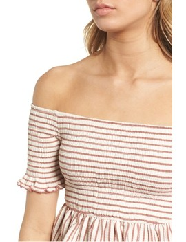 Off The Shoulder Stripe Peplum Top by Moon River
