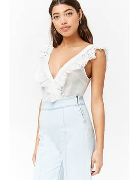 Surplice Embroidered Lace Bodysuit by Forever 21