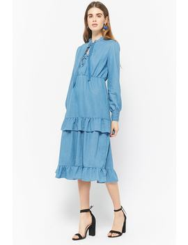 Chambray Ruffle Dress by Forever 21