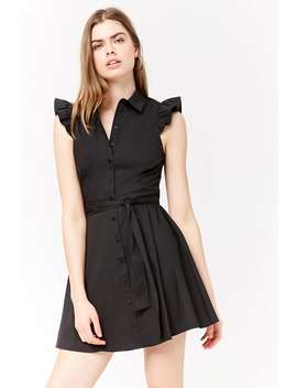 Shirred Sleeve Shirt Dress by Forever 21