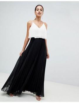 Asos Design Crop Top Midi Dress In Pleated Color Block by Asos Design