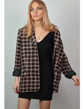 Vintage 90s Black &Amp; Pink Check Tweed Blazer / Jacket by Club Vintage