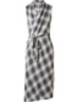 Plaid Cotton Blend Wrap Midi Dress by Vince