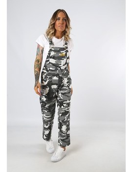 Denim Dungarees Vintage Camouflage Camo Petite 8 (24 W) by Bich