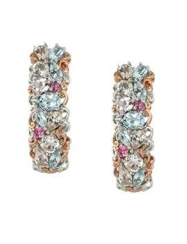 Michael Valitutti Palladium Silver Aquamarine & Morganite Multi Gemstone Earrings by Michael Valitutti