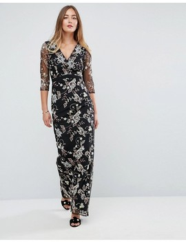 Little Mistress Tall All Over Floral Embroidered Maxi Dress by Little Mistress Tall