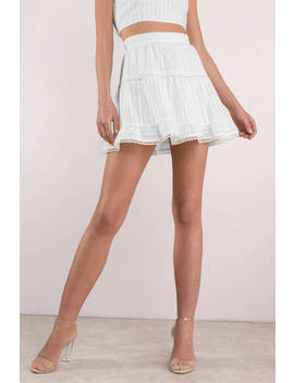Free To Be White Beaded Skater Skirt by Tobi