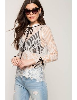 Scallop Lace Tie Neck Blouse by A'gaci