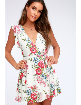 Radiating Beauty White Floral Print Wrap Dress by Lulus