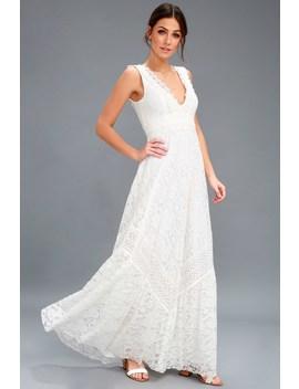 Melia White Lace Maxi Dress by Lulus