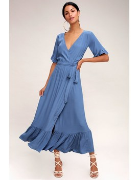 Enchanted Slate Blue Midi Dress by Lucy Love