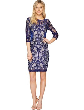 Sangria Womens 3/4 Sleeve Lace With Side Panel Detail Sheath Dress by Sangria
