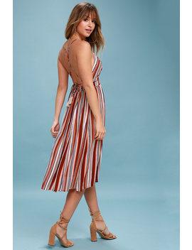 Montara Red Striped Backless Midi Dress by Lulus
