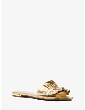 Bella Ruffled Metallic Leather Slide by Michael Michael Kors