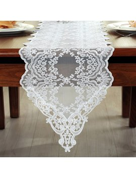 Antuen Embroidered Lace Table Runner For Wedding Party Home Tabletop Decoration White, 12x120 Inch by Antuen