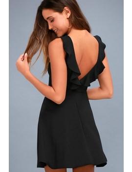 Craving You Black Backless Skater Dress by Lulus