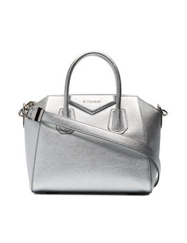 Silver Antigona Small Leather Tote Bag by Givenchy