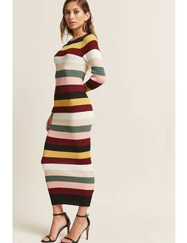 Multicolor Stripe Bodycon Maxi Dress by F21 Contemporary