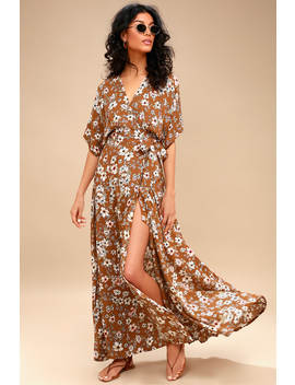 Bergamo Brown Floral Print Wrap Maxi Dress by Faithfull The Brand