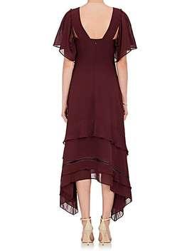 Tiered Hem Silk Georgette Midi Dress by Derek Lam