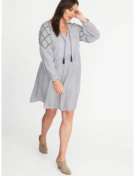 Plus Size Embroidered Tassel Tie Shift Dress by Old Navy