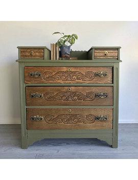 Upcycled Vintage Olive Dresser by Etsy