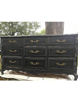 Mid Century French Provincial Dresser Distressed Black Chalk Paint by Etsy