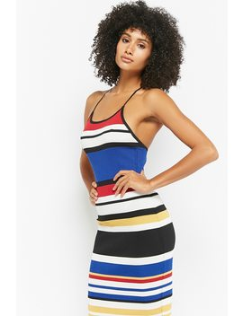 Striped Midi Cami Dress by F21 Contemporary