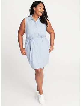 Plus Size Striped Tie Waist Shirt Dress by Old Navy