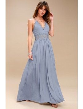 This Is Love Slate Blue Lace Maxi Dress by Lulus