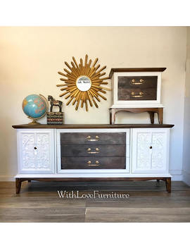 Mcm Mid Century Modern Dresser/ Credenza / Console / Tv Stand With Nightstand Include by Etsy