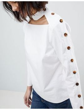 Asos White Cut Out Top With Button Detail by Asos White