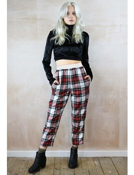 White Plaid Peg Trousers (White Elastic) by Yapyap
