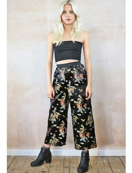 Black Chinese Dragon Crop Trousers by Yapyap