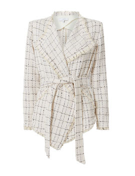 Quinet Plaid Knit Wrap Jacket by Iro