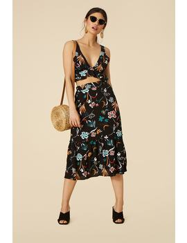 Floral Print Midi Skirt by Forever 21