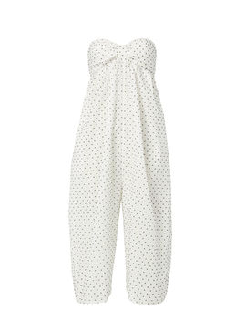 Strapless Cropped Polka Dot Jumpsuit by Marysia