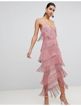 Asos Fringe Mesh Strappy Maxi Bodycon Dress by Asos Design