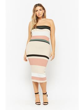 Plus Size Striped Tube Dress by Forever 21