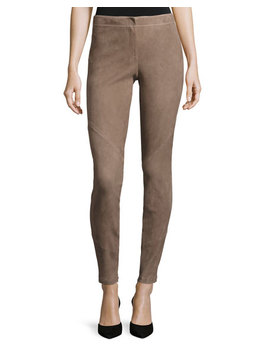 Suede Zip Cuff Slim Leg Pants by Lafayette 148 New York