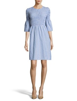 smocked-fit-&-flare-dress by eci